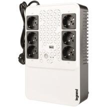 LEGRAND KEOR-M multimédiás szünetmentes elosztósor 600VA (4+2)xSHK Always-on USB töltő aljzat - vonali interaktív