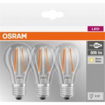Osram Base Filament 7 W E27 806 lumen meleg fehér LED körte izzó 3db/csomag