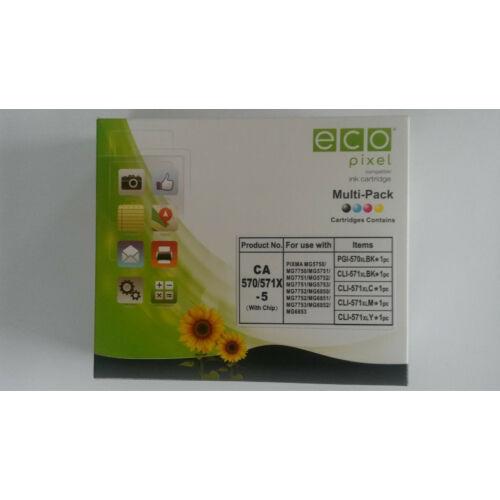 CANON CLI571XL Multipack BKCMY 5db-os /FU/ ECOPIXEL BRANDPGI570BK,CLI571BK,CLI571C,CLI571M,CLI571Y