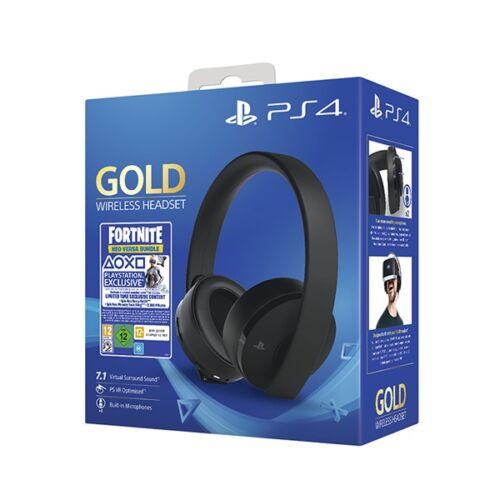 SONY PS4 Kiegészítő Headset Gold vezeték nélküli, fekete + Fortnite Neo Versa