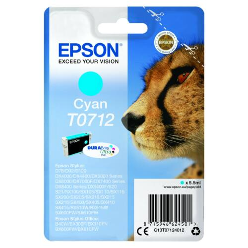 Epson T0712 Patron Cyan 5,5ml (Eredeti) C13T07124012